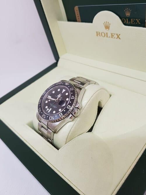 Blick auf den Handaufzug der Rolex GMT Master II